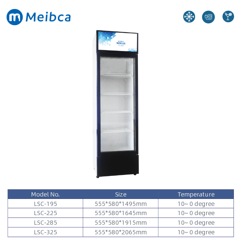 LED Light Upright Beverage Showcase Display Fridge